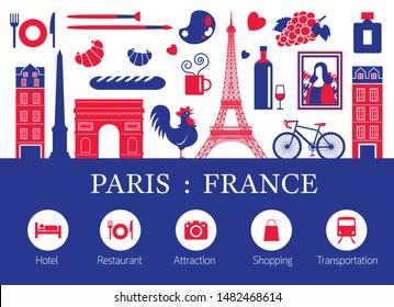 Paris, Frankreich - Wahrzeichen und Reiseobjekte mit Unterkunftssymbolen, Farbe der blauen und roten Flagge, berühmter Platz und Touristenattraktion