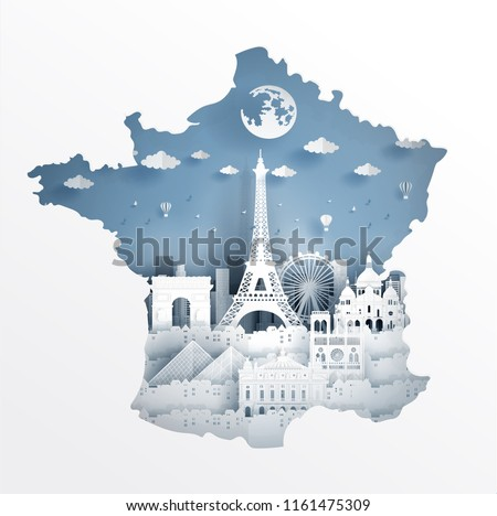 Paris France Map Concept France Famous Stock Vector Royalty Free