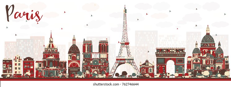 Paris France Skyline with Color Landmarks. Vector Illustration. Business Travel and Tourism Concept with Historic Buildings. Paris Cityscape.