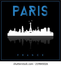 Paris, France skyline silhouette vector design on black background.