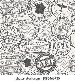 Paris France Stamp Vector Art Postal Passport Travel Design Set Pattern