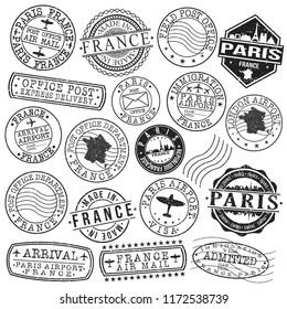 Paris France Stamp Vector Art Postal Passport Travel Design Set