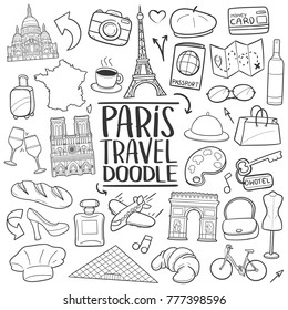 Paris France Travel Traditional Doodle Icons Sketch Hand Made Design Vector
