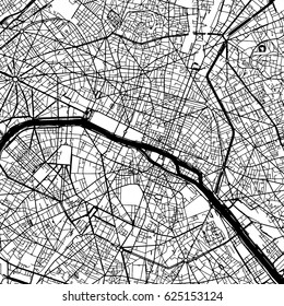 Paris France Vector Map Monochrome Artprint, Outline Version for Infographic Background, Black Streets and Waterways