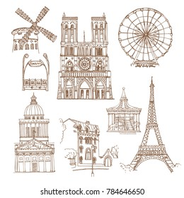 Paris, France. Vector sketch old town. Hand drawn public and religious buildings, attractions, entrance station