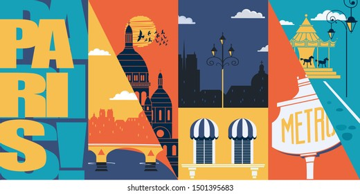 Paris, France vector skyline illustration, postcard. Travel to France modern flat graphic design banner with Parisian ancient landmarks - Sacre Coeur, Notre Dame, metro sign