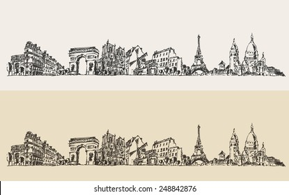 Paris, France, vintage engraved illustration, hand drawn