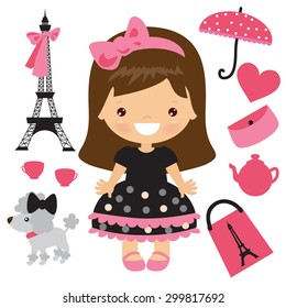 Paris girl vector illustration