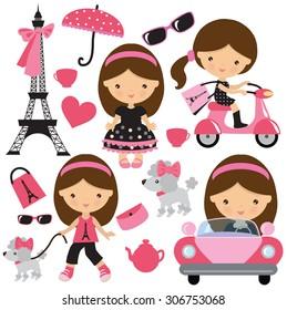 Paris girl vector illustration