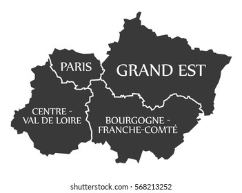 Paris , Grand Est, Centre - Val de Loire - Bourgogne Map France illustration