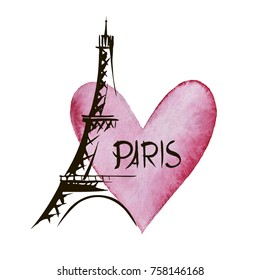 Paris hand drawn vector lettering and Eiffer Tower. Modern calligraphy brush lettering. Paris ink lettering. Design element for cards, banners, flyers