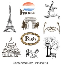 Paris icons set. Hand-drawn  sketch of France landmarks: Eiffel Tower Basilica of the Sacred Heart of Paris lamppost fashion Arc de Trimphe Moulin Rouge and outdoor restaurant