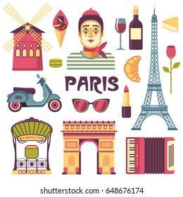 Paris icons set. Vector collection of French culture and food images, including Street mime, Eiffel Tower, Moulin Rouge, croissant, scooter, Arc de Triomphe, accordion in trendy flat style.