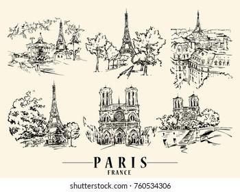 Paris illustration. Ink and pen hand drawn artwork.