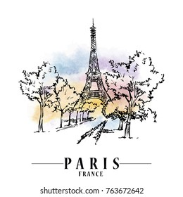 Paris illustration. Ink and pen hand drawn artwork. Watercolor background.