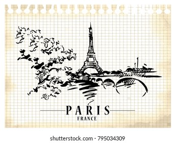 Paris illustration. Ink and pen hand drawn artwork.