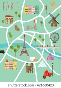 Paris illustration map