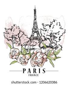 Фотообои Paris illustration. Vector artwork. Flower and paint spots background.