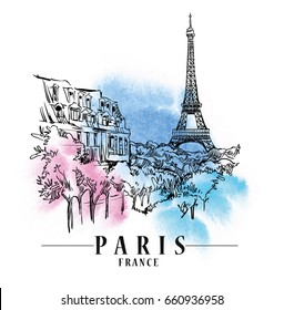 Paris illustration. Vector artwork. Watercolor background