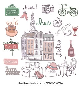 Paris illustration.Background with french symbols.