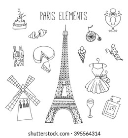 Paris illustrations. Hand drawn france elements. Doodle elements on Paris theme. Fashion vector designs. Eiffel tower illustration. Windmill illustration in hand sketched style. Food from France.