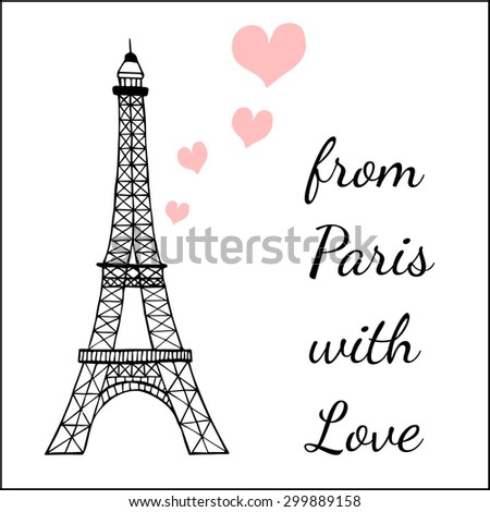 Paris inspired postcard template images eiffel stock vector royalty paris inspired postcard template with images of the eiffel tower and hearts maxwellsz