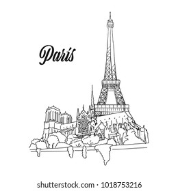 Paris Landmark Banner Sign, hand drawn outline illustration for print design and travel marketing