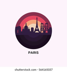Paris Landmark. Paris vector illustration badge