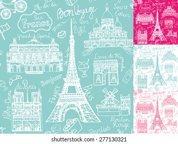 Paris landmark,lettering  seamless pattern.Vintage Hand drawn doodle .In French good travel,hello,Notre Dame Cathedral,Eiffel tower,Sacre Coeur,Grand Opera,arc de Triomphe,Moulin Rouge.Vector