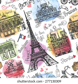 Paris landmark,lettering seamless pattern.Watercolor stein.Vintage  doodle.In French  good travel,hello,Notre Dame,Eiffel tower,Sacre Coeur,Grand Opera,arc de Triomphe,Moulin Rouge.Vector