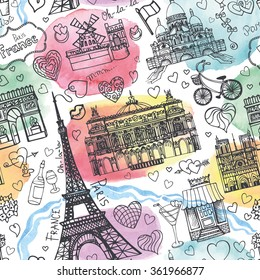 Paris landmark,love seamless pattern.Valentines day,wedding design,hearts vintage Vector elements.Paris Hand drawn doodle sketchy.Watercolor artistic splashes.Paris symbols,Eiffel tower.Illustration.