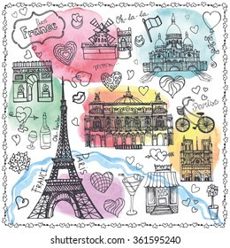 Paris landmark,love set.Valentines day,wedding design,hearts vintage Vector elements.Hand drawn doodle sketchy.Watercolor  artistic splashes.Paris symbols,Eiffel tower.Illustration.