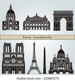Paris landmarks and monuments isolated on blue background in editable vector file
