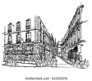 Paris latin quarter - Vector illustration