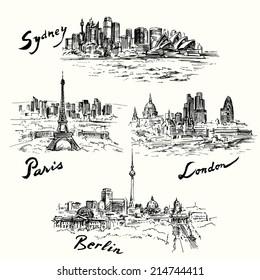 Paris, London, Berlin, Sydney - hand drawn collection