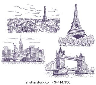 Paris, London and New-York vector drawings set
