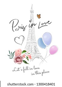 Paris in love slogan with Eiffel tower and flowers illustration