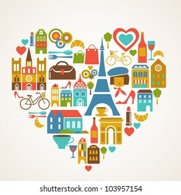Paris love - vector illustration with set of icons