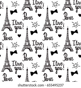 Paris I love you. Illustration black ink Eiffel Tower. Hand-drawing. Vector seamless pattern isolated on white background.