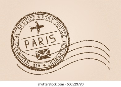Paris mail stamp. Old faded retro styled impress. Vector illustration