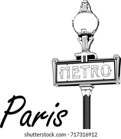 Paris metro sign with street lamp. Vector illustration in the style of engraving.