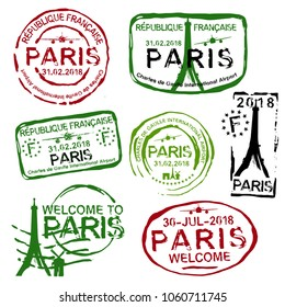 Paris passport stamps set in red. green and black colours. Travel by plane visa or immigration stamp. Vector illustration isoated on a white background.