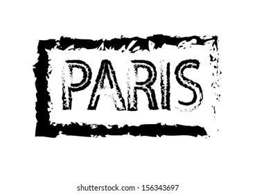 Paris Passport Style Stamp. Vector