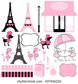 Paris and Pink Poodle Ooh La la vector illustration