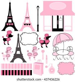 Paris and Pink Poodle Ooh La la vector illustration