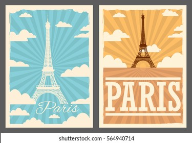Paris retro posters set.Paris vector illustration.