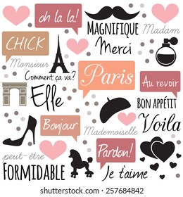 Paris - retro, stylish background. Vector art.