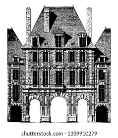 Paris Royal Palace Façade officially the Grand Louvre simply the Louvre the national museum of France most visited museum in the world vintage line drawing or engraving illustration.