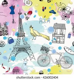Фотообои Paris seamless pattern