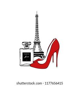 Paris set: Eiffel Tower, red Shoes, Perfume. Vector hand drawn illustration with Eiffel tower. Fashionable accessories. Paris romantic design. Vector trendy illustration. Beauty fashion woman set.